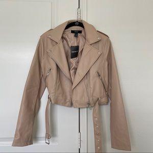 Forever 21 Blush Faux Leather Moto Jacket